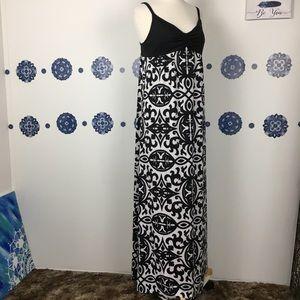 INC black white print maxi dress stretch XL